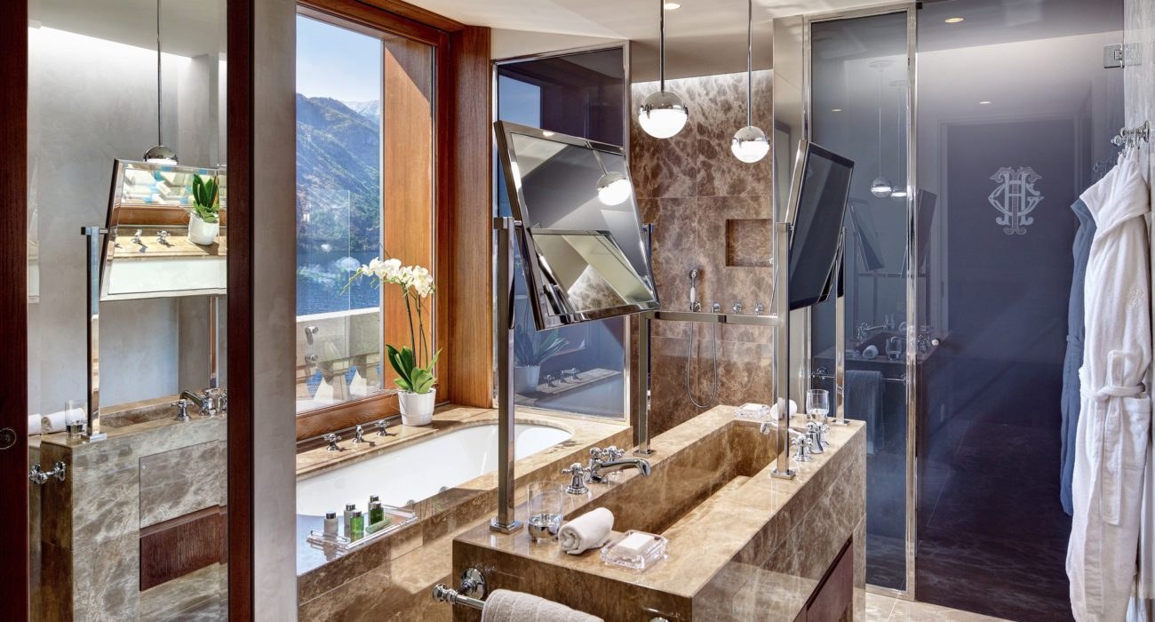 The bathrooms of the Rooftop suites at the Grand Hotel Tremezzo are all in prestigious Italian murble.