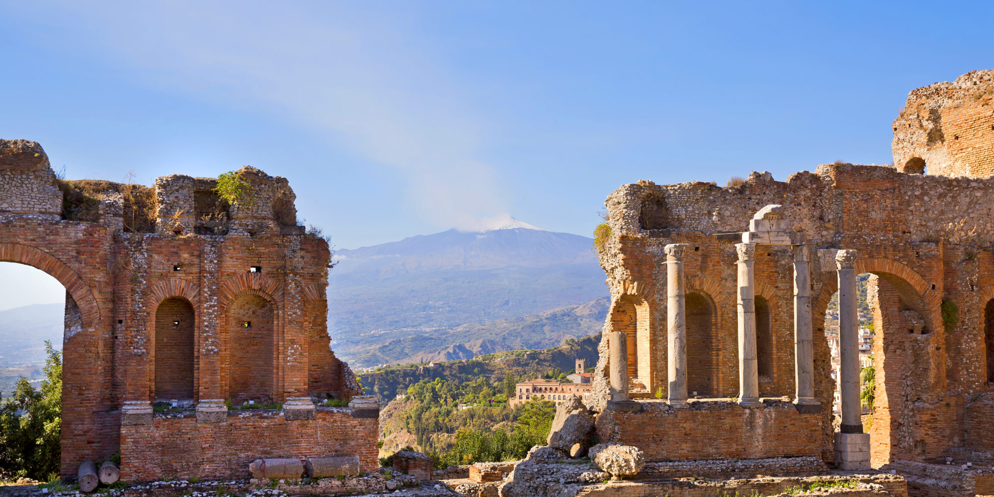 Taormina is famous worldwide for the view yoou can enjoy of the beautiful Mediterranean sea and on the Mount Etna, the highest active Vulcano in Europe.