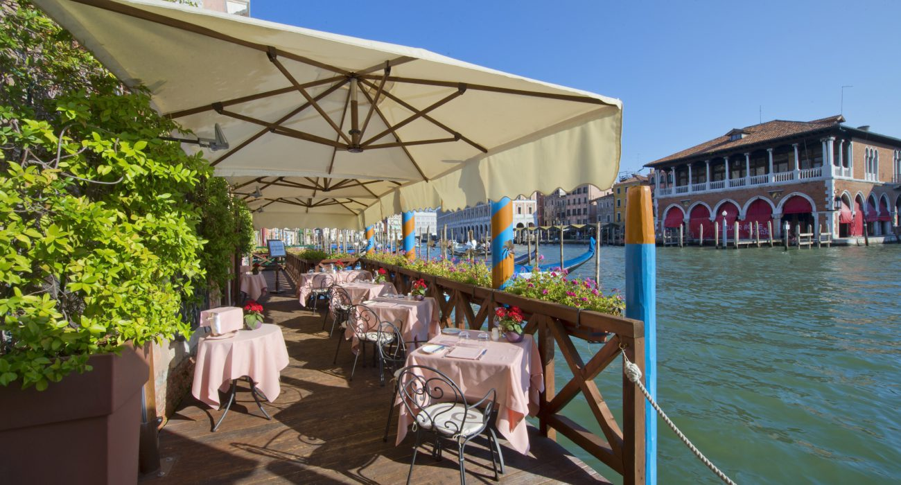 L'Alcova Restaurant with its splendid panoramic terrace overlooking the Grand Canal a real gem of the Cà Sagredo!